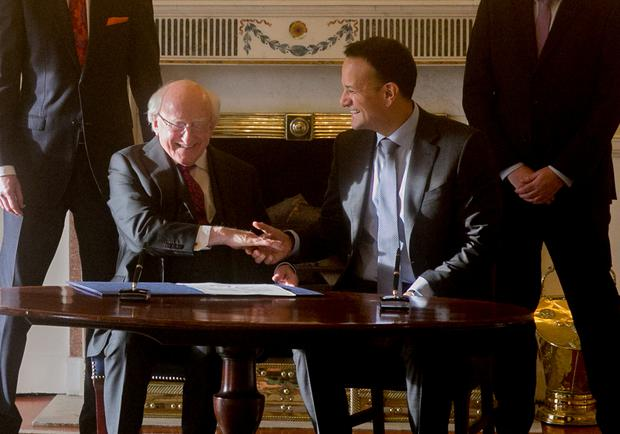 14/01/2020 President Michael D Higgins with Leo Varadkar TD at Aras an Uachtarain this afternoon… Pic Gareth Chaney / Collins Photos