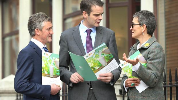 The Irish Farmers Association (IFA) has warned there is a real risk of milk shortages on supermarket shelves. Launching the Association's Milk Wise 2025 Strategy today were John Finn, IFA Liquid Milk Chairman; IFA President Joe Healy; and, Catherine Lascurettes, IFA Dairy Executive.Picture: Finbarr O'Rourke
