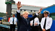 Gesturing: Boris Johnson visits HMS Victorious at the Faslane Naval Base on the River Clyde in Scotland.  Photo: Jeff J Mitchell/PA Wire