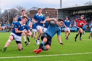 Gavin Barrett of St Michael's College goes over for a try against St Mary's at Donnybrook. Photo: Pat Murphy / SPORTSFILE