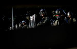 Riot police stand guard during an anti-government march in Tuen Mun, Hong Kong, China September 21, 2019. REUTERS/Aly Song