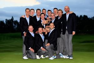 Europe captain Paul McGinley with his victorious team after their Ryder Cup victory over the United States at Gleneagles. Photo: Jamie Squire/Getty Images