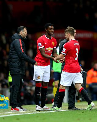 Luke Shaw of Manchester United is substituted for Tyler Blackett of Manchester United