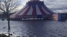 Video footage shows the circus tent swamped with water