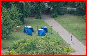 Tragedy: Police forensic tents set up in Forbury Gardens in Reading, the scene of the stabbing attacks. Photo: Jonathan Brady/PA Wire