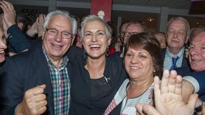Well-known: Former Rose of Tralee Maria Walsh celebrates her election as an MEP with her parents Vincent and Noreen. Photo: Michael McLaughlin