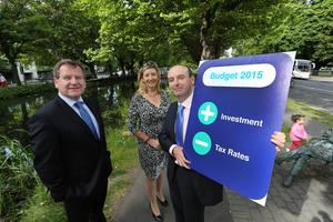 Pictured at the launch of Ibec's pre-budget submission, published today, were Danny McCoy, CEO, Ibec, Mary Rose Burke, Director of Business Representation at Ibec and Fergal O'Brien, Head of Policy and Chief Economist, Ibec. The group calls for Û300 million worth of income tax reductions, a Û100 million reduction in consumer taxes and the abolition of the pensions levy. It said Budget 2015 must focus on reducing tax rates and boosting investment across the economy. Credit Gary O' Neill