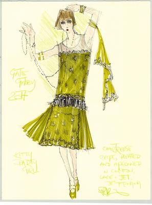 Peter O'Brien illustrations of the costumes he has designed for The Gate Theatre's version of 'The Great Gatsby' in June 2017