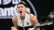 Petra Kvitova of the Czech Republic celebrates after winning the first set against United States' Danielle Collins during their semifinal at the Australian Open. Photo: Kin Cheung/AP