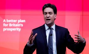 Labour Party leader Ed Miliband speaks at the presentation of their business manifesto in central London. Photo: Reuters