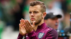 England's Jack Wilshere applauds fans after the game