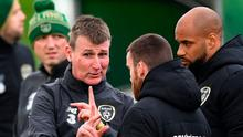Ireland manager Stephen Kenny, pictured here speaking to Aaron Connolly during training, will pit his wits against Gareth Southgate's England in a friendly at Wembley next month. Photo: Sportsfile