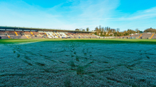 A view of the frozen pitch at St Tiernach's Park which caused Monaghan's game against Donegal to be called off. Photo by Philip Fitzpatrick/Sportsfile