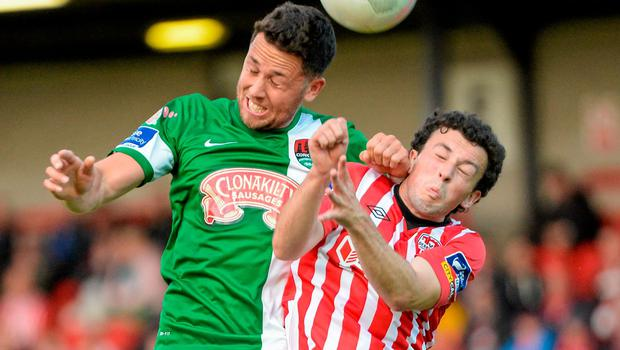 Cork City's Billy Dennehy gets ahead of Derry's Barry McNamee