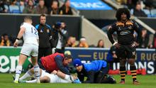 Wasps' Ashley Johnson (right) stands over Leinster's Dave Kearney before being sin binned in the first minute of the match during the Champions Cup match at the Ricoh Arena