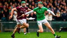 Limerick's William O'Donoghue in action against Adrian Tuohy of Galway during the Allianz Hurling League Division 1 Group A Round 2 match at LIT Gaelic Grounds in Limerick. Photo: Diarmuid Greene/Sportsfile
