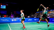 Samuel Magee, right, and Chloe Magee of Ireland in action against Krestina Silich and Aliaksei Konakh of Belarus during their Mixed Badminton Doubles group stage match at Falcon Club on Day 7 of the Minsk 2019 2nd European Games in Minsk, Belarus. Photo by Seb Daly/Sportsfile