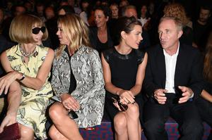 (L-R)  Anna Wintour, Kate Moss, Charlotte Casiraghi and Francois-Henri Pinault attend the Gucci show as part of Milan Fashion Week Womenswear Spring/Summer 2015