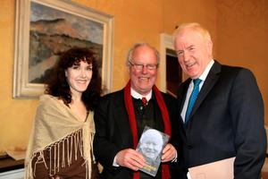 16/4/13 Minister Jimmy Deenihan with Brendan Kennelly and Sandrine Brisset, author at the book launch/birthday party for Brendan Kennelly in the Shelbourne Hotel, Dublin. Picture:Arthur Carron/Collins