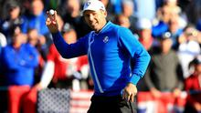 Europe's Sergio Garcia celebrates after chipping in from a bunker during the fourballs on day one of the 40th Ryder Cup at Gleneagles