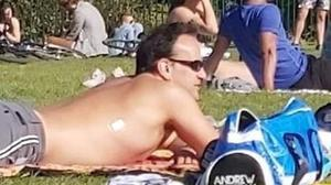 Relaxing: Taoiseach Leo Varadkar enjoys the sunshine in Phoenix Park, Dublin