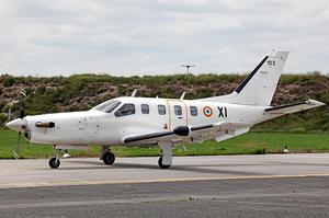 A Socata TBM-700 light business and utility aircraft, the model of plane that is currently uncommunicative and flying over the Atlantic Ocean