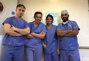 Angus Lloyd with colleagues while training at  Beaumont Hospital