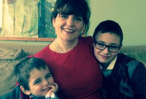Author Kate Kerrigan with her sons Tom and Leo