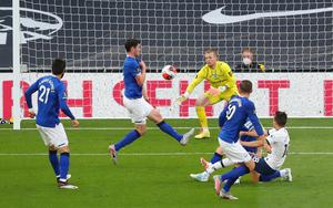 Everton's Michael Keane scores an own in the Premier League defeat to Spurs at the Tottenham Hotspur Stadium, London