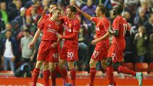 Jordan Rossiter celebrates with his Liverpool teammates after scoring the opening goal in the Capital One Cup clash against Middlesbrough at Anfield. Photo: Alex Livesey/Getty Images