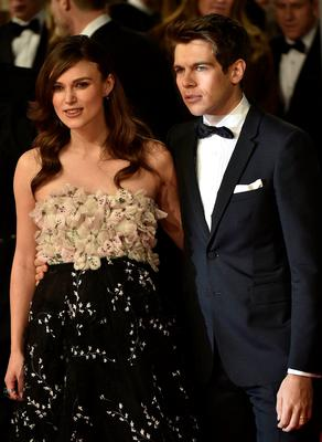 Actress Keira Knightley and her husband, musician James Righton, arrive at the British Academy of Film and Arts (BAFTA) awards ceremony at the Royal Opera House in London