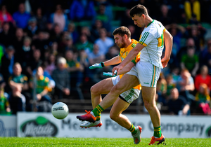 Niall McNamee of Offaly in action against Shane Gallagher of Meath during the Leinster SFC opener in Navan last weekend. Pic: Sportsfile