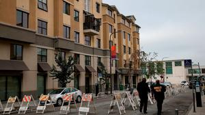 Police at the scene of the balcony collapse at the apartment building in Berkeley. Photo: Getty