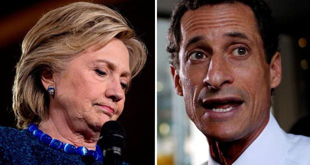Hillary Clinton (left) and Anthony Weiner (right)