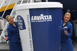Lavazza coffee, served on Ryanair flights. Don't worry, the actual cups are not this size.