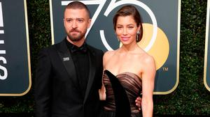 Justin Timberlake and Jessica Biel attend The 75th Annual Golden Globe Awards at The Beverly Hilton Hotel on January 7, 2018 in Beverly Hills, California.  (Photo by Frederick M. Brown/Getty Images)