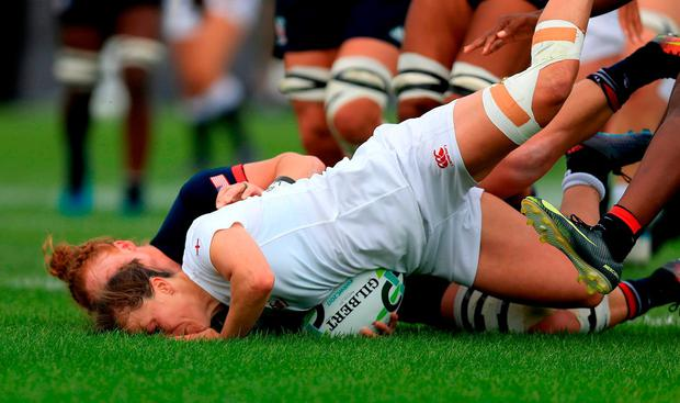 England's Katie McLean score's a try during the 2017 Women's Rugby World Cup, Pool B match at UCD Billings Park