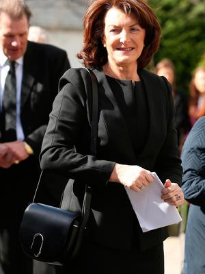 Eimear Haughey outside St. Sylvester's Parish Church, Malahide at the funeral of her mother, Maureen Haughey. Credit: Damien Eagers