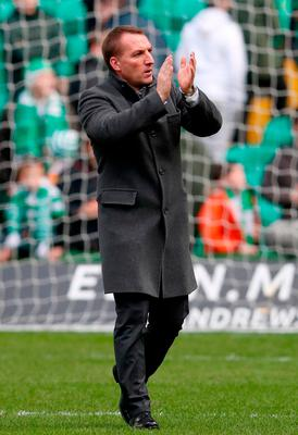 Celtic's manager Brendan Rodgers after the match Photo: Jane Barlow/PA Wire
