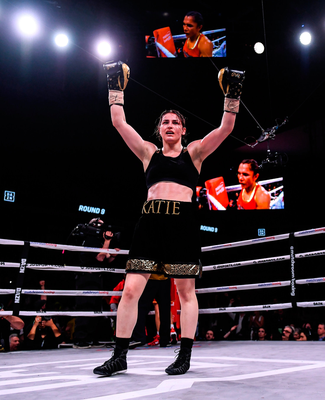 CHAMP: Katie Taylor celebrates after defeating Rose Volante in their WBA, IBF & WBO Lightweight World Championships unification bout in Philadelphia. Photo by Stephen McCarthy / Sportsfile