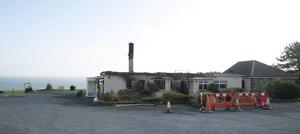 Dunmore East golf clubhouse which was destroyed by fire last night. Photo; Mary Browne