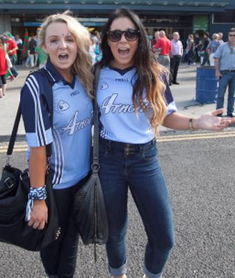 22/09/2013  Aisling woodgate & Fiona Casey both from castleknock  at the All ireland Senior Football Final between Dublin & Mayo in Croke Park, Dublin. Photo:  Gareth Chaney Collins