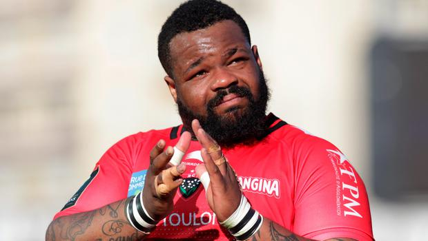 RC Toulon's  French centre Mathieu Bastareaud celebrates after the European Rugby Champions Cup 1/4 final match between RC Toulon and London Wasps