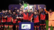 27 October 2020; Drogheda United captain Jake Hyland lifts the SSE Airtricity First Division trophy alongside his team-mates following their match against Cabinteely at Stradbrook in Blackrock, Dublin. Photo by Stephen McCarthy/Sportsfile