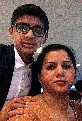 Amar Atwal, 12, with his mother Sukhi Credit: West Midlands Police/PA Wire