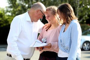 Sarah Poole with her parents Keith Poole and Michelle Willis at Rathdown School in Dublin. Photo: Jason Clarke