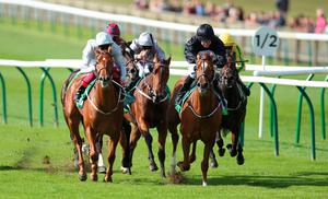 Triumph: Millisle, ridden by Shane Foley, on the way to winning The Juddmonte Cheveley Park Stakes at Newmarket. Photo: Nigel French/PA Wire.