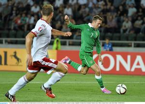 7 September 2014; Aiden McGeady, Republic of Ireland, shoots to score his side's first goal. UEFA EURO 2016 Championship Qualifer, Group D, Georgia v Republic of Ireland. Boris Paichadze National Arena, Tbilisi, Georgia. Picture credit: David Maher / SPORTSFILE