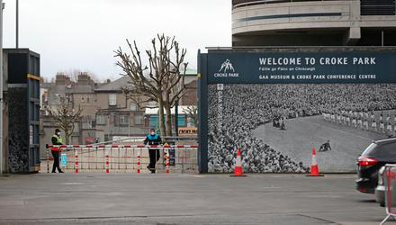Security guards wearing face masks at Croke Park in Dublin where the stadium is being used as a testing facility for Covid-19. Photo: Niall Carson/PA Wire