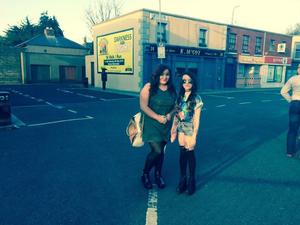 Photo by Sarah Kelly on the set of Fair City with her friend Becca